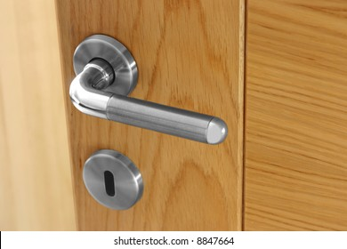 Handle of an office wood door