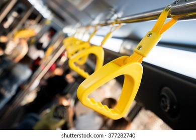 Handle on ceiling of bus,handle on a train