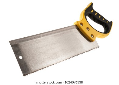 handle saw on wood for mitre box