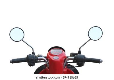handlebar of the motorcycle isolated on white background