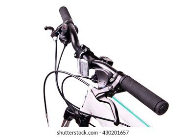 Handlebars of the bicycle isolated on white background