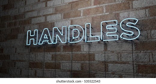 HANDLES - Glowing Neon Sign on stonework wall - 3D rendered royalty free stock illustration.  Can be used for online banner ads and direct mailers.