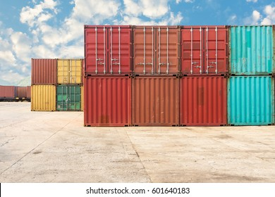 Handling stack of container shipping yard.