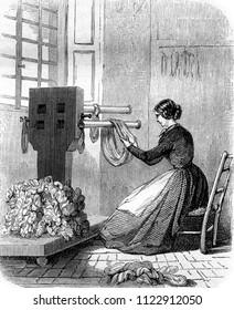 Handling, vintage engraved illustration. Magasin Pittoresque 1855.