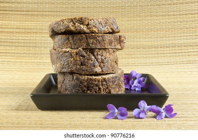 handmade african black soap with flowers
