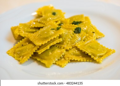 Handmade agnolotti, type of ravioli, typical Italian egg pasta from Piedmont, Italy