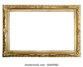 Handmade antique golden picture frame. Inverted clipping path included.