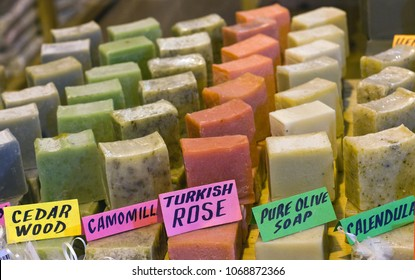 Handmade aromatic soap on the Grand Bazaar in Istanbul, Turkey
