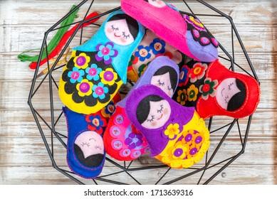 Handmade Babuszki pin cushion handmade in the traditional Polish  Folk Doll. - Shutterstock ID 1713639316