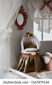 Handmade baby cradle, wooden dollhouse for girls