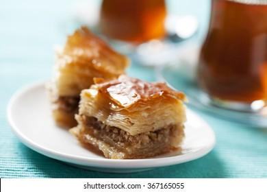 Handmade baklava, traditional turkish pastry