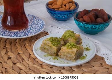 handmade baklava turkish dessert with phistashio