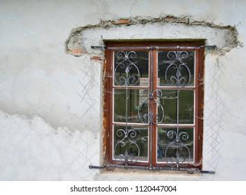 handmade bars on the window, South Bohemia, Czech Republic