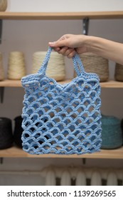 Handmade Blue String bag, solution to plastiс pollution problem