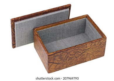 Handmade box for jewelry from a genuine leather isolated. Art soft focus