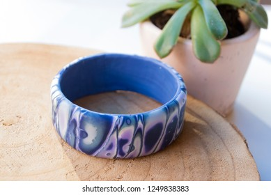 Handmade bracelet abstract of polymer clay. Blue and lavender jewelry.