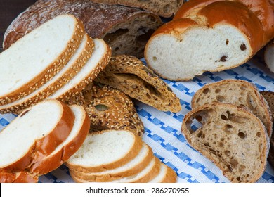 Handmade bread on a tablecloth