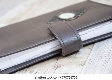 Handmade brown leather notebook, planner for business or education