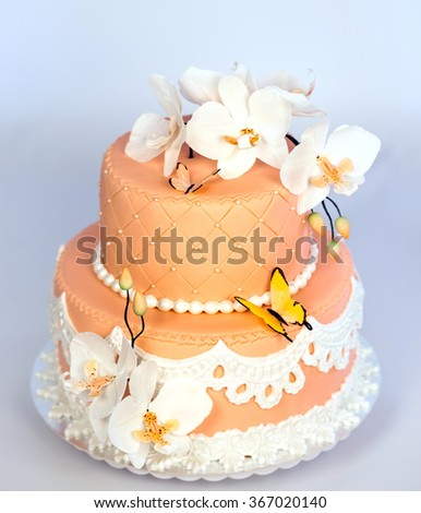 Handmade Cake Two Tier With Flowers And Butterflies