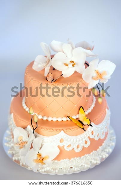 Excellent Handmade Cake Twotier Cake Flowers Butterflies Stock Photo Edit Personalised Birthday Cards Beptaeletsinfo