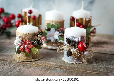 Handmade candle holder with  Christmas decoration