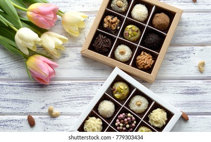 handmade candy on a wooden background