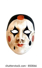 A handmade carnival mask from Venice on a white background.