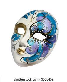 Handmade carnival venetian mask made of porcelain ceramic isolated over white background