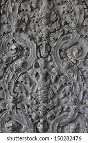 Handmade carvings of cambodia pattern on a wall in Angkor Wat, Siem Reap, Cambodia.