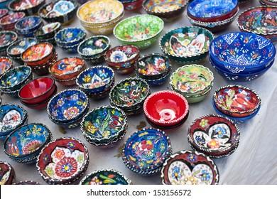 Handmade ceramic plates in Turkey.