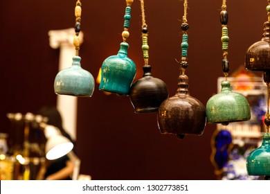 Handmade ceramics on the market. Mugs, plates