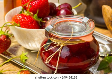 Hand-made cherry-strawberry confiture with Amaretto