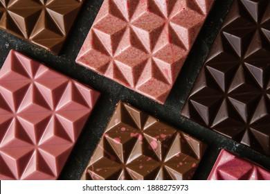 Handmade chocolate: milk, dark, ruby, with natural fruit fillings - berries, nuts