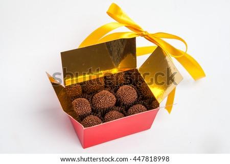 Handmade Chocolates Gift Box Beautiful Bow Stock Photo Edit Now