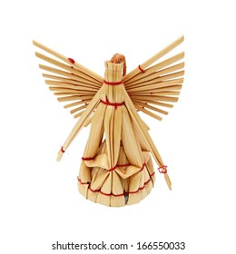 Handmade christmas decoration angel from straw