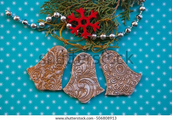 Polymer Clay Christmas Decorations.Handmade Christmas Decoration Bells Polymer Clay Stock Photo