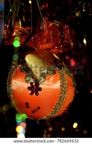 Elegant Handmade Christmas Ornaments.Handmade Christmas Decoration Elegant Orange Gold Stock