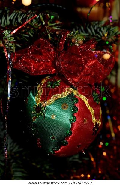 Elegant Handmade Christmas Ornaments.Handmade Christmas Decoration Elegant Red Green Stock Photo