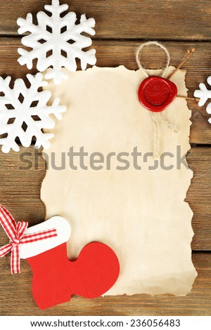 Handmade Christmas Decorations Old Paper Sheet Stock Photo