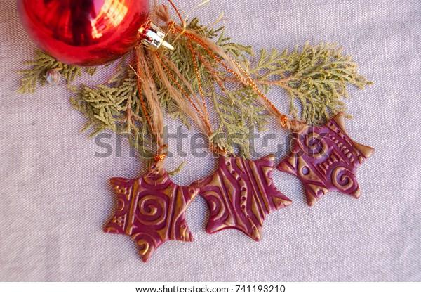Handmade Christmas Ornaments Polymer Clay Xmas Stock Photo Edit Now