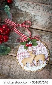 handmade Christmas paper decoration background