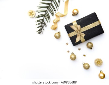 handmade Christmas present gift boxes isolated in white.  Creative Flat layout and top view composition