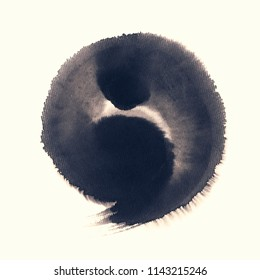 Handmade  circle drawing ink black brush sketch on isolated white