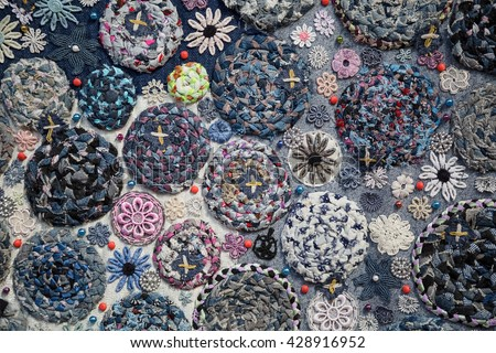 Handmade Closeup Pattern Crochet Rag Rug Stock Photo Edit Now