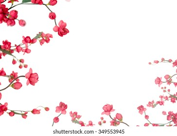 handmade cloth flower, Red Japanese flowering cherry