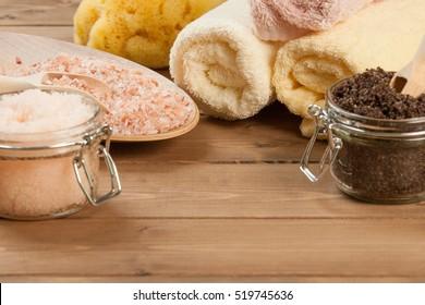Handmade Coffee Scrub With Argan Oil. Himalayan Salt. Towels, Spa Set