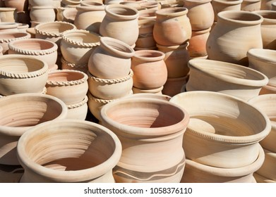Handmade  collection of pottery jugs