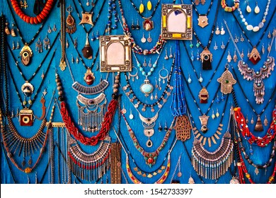 Handmade colored jewelry at a market in the medina of Marrakesh, Morocco.