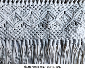 Handmade colorful macrame pattern background texture, ECO friendly,Modern summer concept,knitting