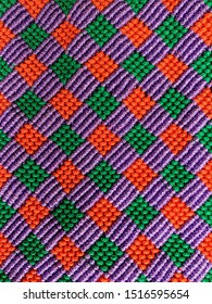 Handmade colorful macrame pattern background,macrame texture,ECO friendly,Modern summer concept,knitting